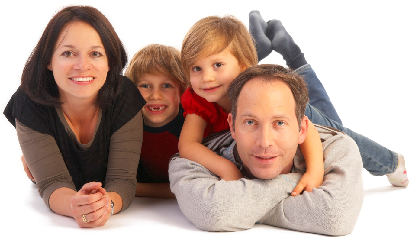 Young family on floor with mother, father, daughter and son